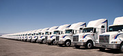 Car Carrier Photos - Semi Truck Fleet by Gunter Nezhoda