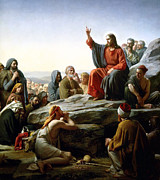 Sermon Painting Prints - Sermon On The Mount Print by Carl Bloch