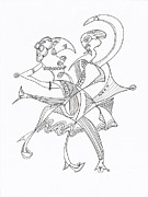 Man And Woman Drawings - Shall We Dance? by Elizabeth Cassidy