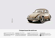 Volkswagen Beetle Posters - 2 Shapes Known The World Over Poster by Mark Rogan