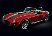 Autos Digital Art Prints - Shelby Cobra 427 - Red Print by Marc Orphanos