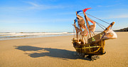 Life Art - Ship model on summer sunny beach by Michal Bednarek
