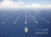 Ships And Submarines Participating Print by Stocktrek Images