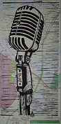Linoleum Print Drawings - Shure 55s on map by William Cauthern