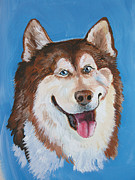Husky Dog Paintings - Siberian Husky Dog by Barbara Lightner