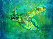 Green Sea Turtle Mixed Media - Silent Journey by Christine Cholowsky