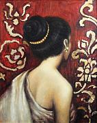 Silk Paintings - Silk and Gold by Sompaseuth Chounlamany