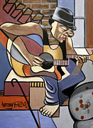 Cubist Digital Art Posters - Singing The Blues Poster by Anthony Falbo