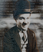 Spencer Mixed Media Prints - Sir Charles Spencer Charlie Chaplin Square Print by Tony Rubino