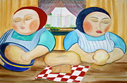 Sisters Baking Print by Teresa Hutto