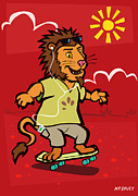 Friendly Cartoon Posters - skateboarding Lion  Poster by Martin Davey