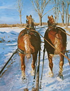 Winter Fun Painting Metal Prints - Sleigh Ride Metal Print by Anda Kett