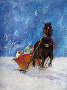 The Horse Pastels Prints - Sleigh Ride Print by Loretta Luglio