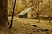 Mountain Cabin Prints - Smoky Mountain Cabin Print by Robert Harmon