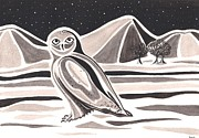 Black And White Owl Paintings - Snowy Owl by Heidi Bjork