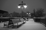 Snowy Night Photos - Snowy Pier by Mike Horvath