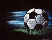 Man Cave Painting Framed Prints - Soccer Ball Framed Print by Danise Abbott