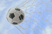 Soccer Net Posters - Soccer Ball In Goal Poster by Anek Suwannaphoom