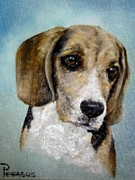 Beagle Puppies Paintings - Soul of  a Beagle by Beverly Pegasus