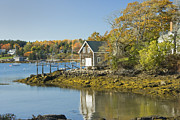 Cottages In England Prints - South Bristol on the coast of Maine Print by Keith Webber Jr