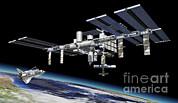 Space Station In Orbit Around Earth Print by Leonello Calvetti