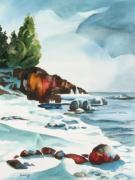 Snow Scene Paintings - Splitrock Cove by Steve Brumbaugh
