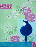 Cherry Blossoms Painting Metal Prints - Spring Melodies Metal Print by Shari-Bird Adams
