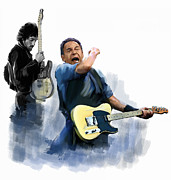 Bruce Springsteen Drawings Acrylic Prints - Springsteen Bruce Springsteen Acrylic Print by Iconic Images Art Gallery David Pucciarelli