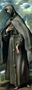 Portrait Of Old Man Posters - St Francis of Assisi Poster by El Greco Domenico Theotocopuli