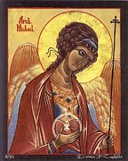 Egg Tempera Painting Prints - St. Michael the Archangel Print by Darcie Cristello