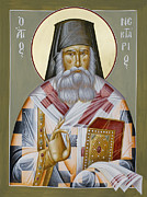 Byzantine Painting Prints - St Nektarios of Aegina Print by Julia Bridget Hayes