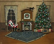 St. Nicholas Sitting In A Chair On Christmas Eve Print by John Lyes