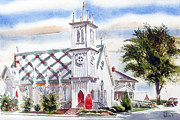 Water Colours Originals - St Pauls Episcopal Church  by Kip DeVore