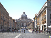 Landmarks Posters - St Peter Basilica viewed from Via della Conciliazione. Rome Poster by Bernard Jaubert