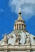 Dome Paintings - St Peter dome in Vatican by George Atsametakis