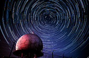 Star Trails And Radar Globe Print by Eszter Kovacs