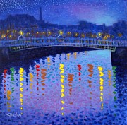 River Framed Prints Prints - Starry Night In Dublin Print by John  Nolan