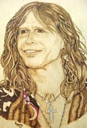 Portrait Greeting Cards Pyrography Framed Prints - Steven Tyler Framed Print by Roger Storey