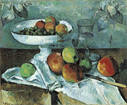 Fruit Bowl Paintings - Still Life by Paul Cezanne