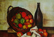 Veronica Rickard Prints - Still Life with Apples after Cezanne Print by Veronica Rickard