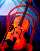 Violin Case Framed Prints - Still Life With Violin Framed Print by John  Nolan
