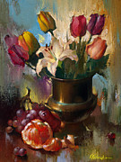 White Grape Painting Prints - Still life with white lily Print by Sergei Yatsenko