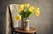 Sheet Metal Posters - Still Life with Yellow Tulips Poster by Nailia Schwarz