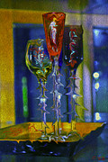 Champagne Glasses Digital Art Framed Prints - Strange Brew  Framed Print by Chet  Dembeck