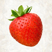 Red Leaf Paintings - Strawberry  by Danny Smythe