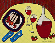 Dessert Wine Paintings - Strawberry Wine by Barbara McMahon