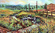 Expressionist Creek Oil Paintings - Stroubles Creek by Kendall Kessler