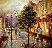 Park Scene Paintings - Summer evening by Dmitry Spiros