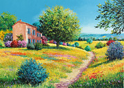 Green Field Prints - Summer house Print by Jean-Marc Janiaczyk
