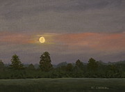 Patrick Paintings - Summer Landscape with  Moon by Patrick ODriscoll